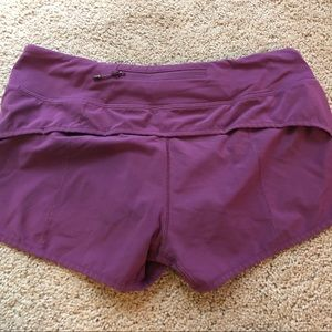 "Lululemon speed short 2.5"" size 6 purple"